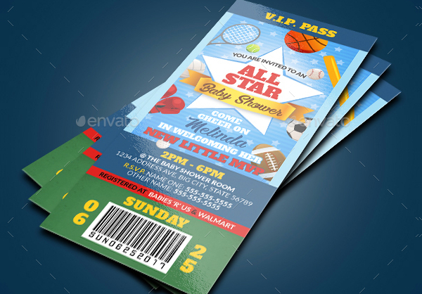 All Star Baby Shower Invitation Tickets Template