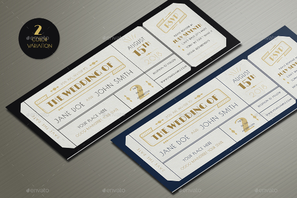 Art Deco Wedding Invitation Tickets Template