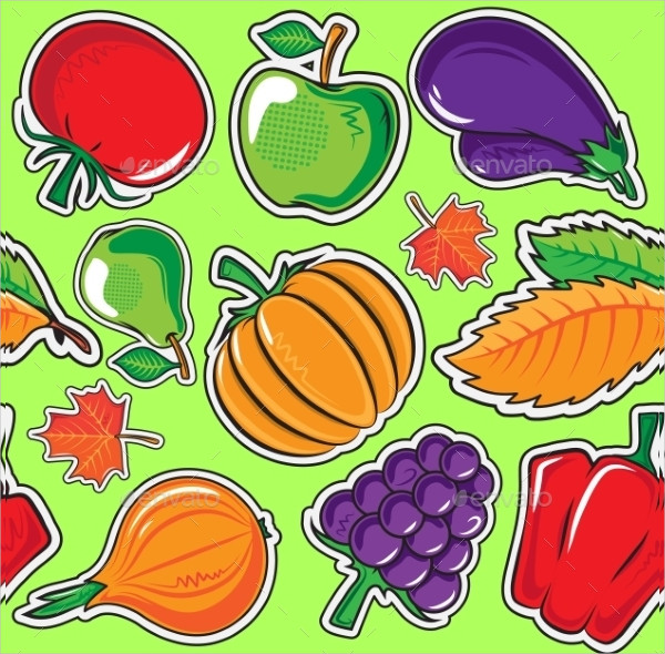Autumn Pattern With Vegetables And Fruits