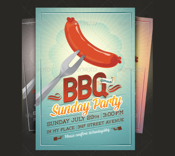 BBQ Summer Party Flyer And Invitation