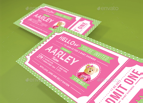 Baby Shower Invitation Tickets Templates