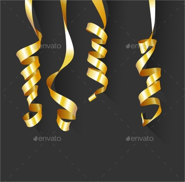 Birthday Background With Gold Streamers