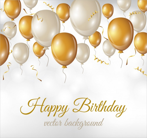 Birthday Background With White & Golden Balloons Free