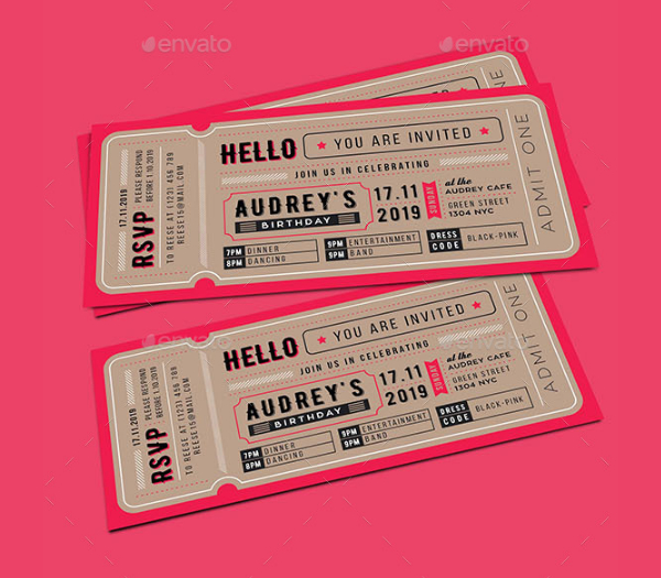 Birthday Invitation Tickets Card Template