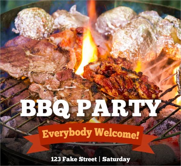 Barbecue Invitation, Template Free Vector