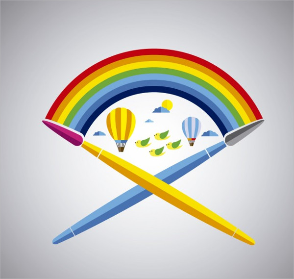 Paintbrushes With Rainbow Free Vector