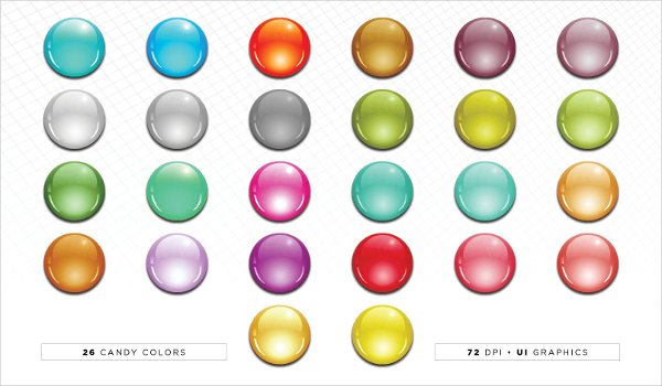 Colorful Glass Interface Buttons