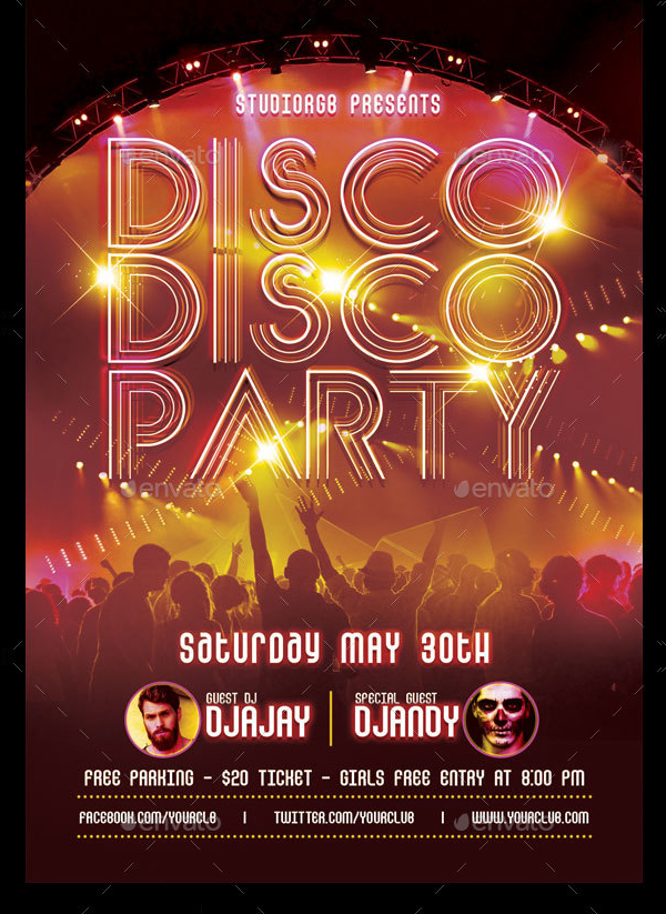 Disco Party Flyer Templates  Free  Premium Download