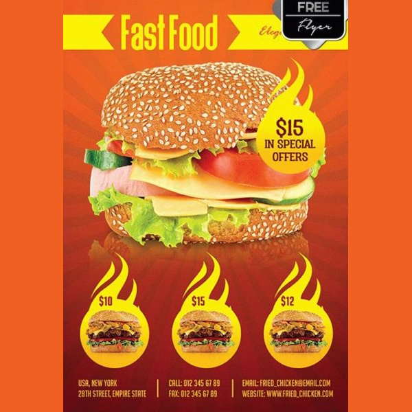 Fast Food Menu Free Flyer Template