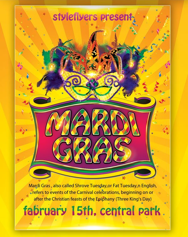 Free Download Mardi Gras Flyer