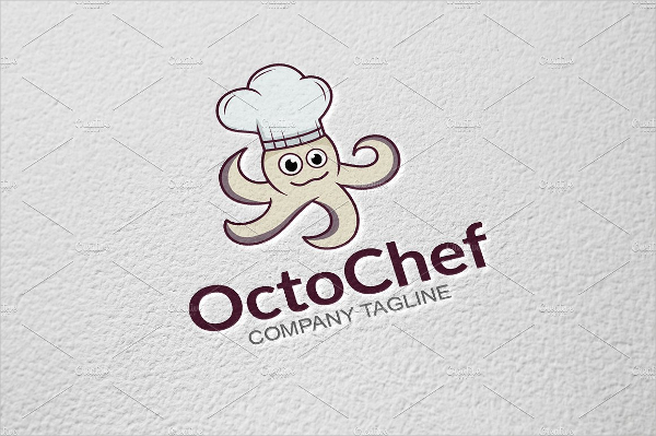 Fully Editable Octopus Chef Logo Design