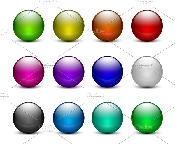 Printable Glass Sphere Buttons Set