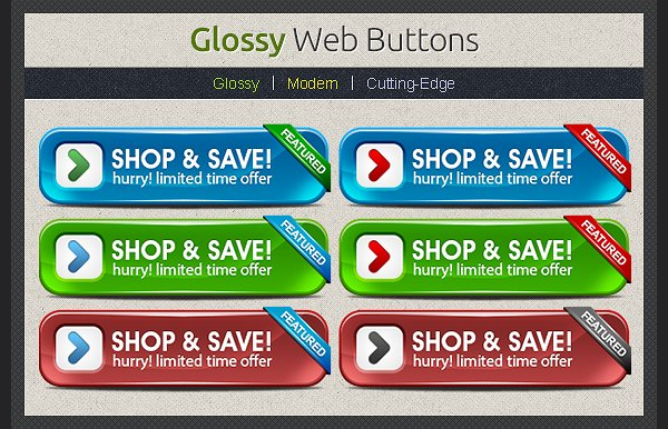 Glossy Web Buttons Design Template