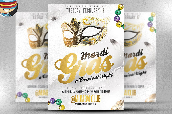 Golden Mardi Gras Flyer Template