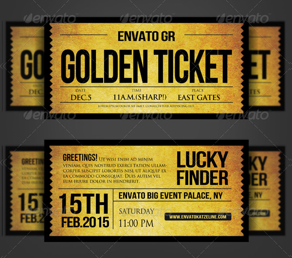 Golden Silver Ticket Corporate Invitation Ticket