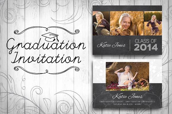 Graduation Chalkboard Invitation Design Template