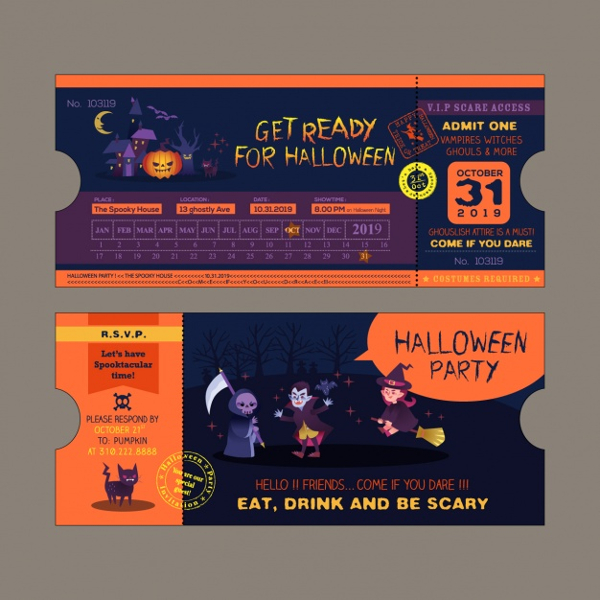 Halloween party Ticket Invitation Design Free Vector