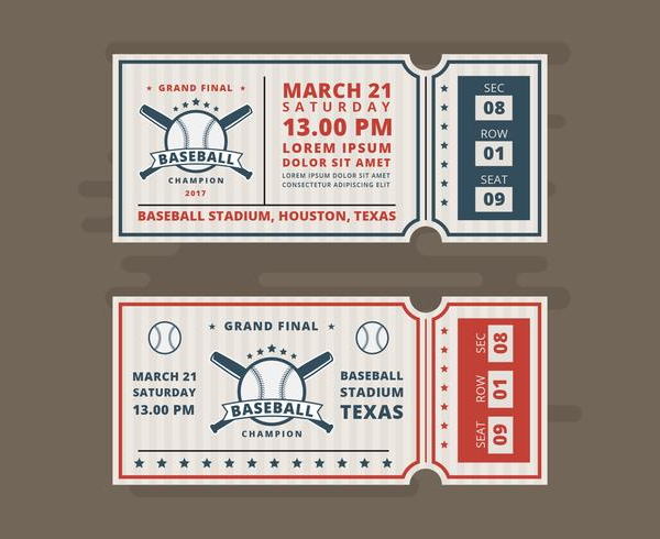 Tickets For Baseball Vector Invitation