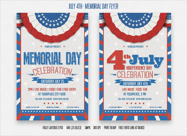 21 memorial day flyer free psd eps illustrator format downloads