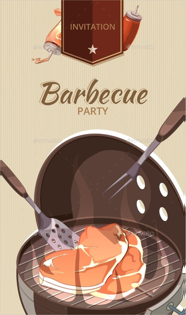 Modern BBQ Party Design Invitation Template