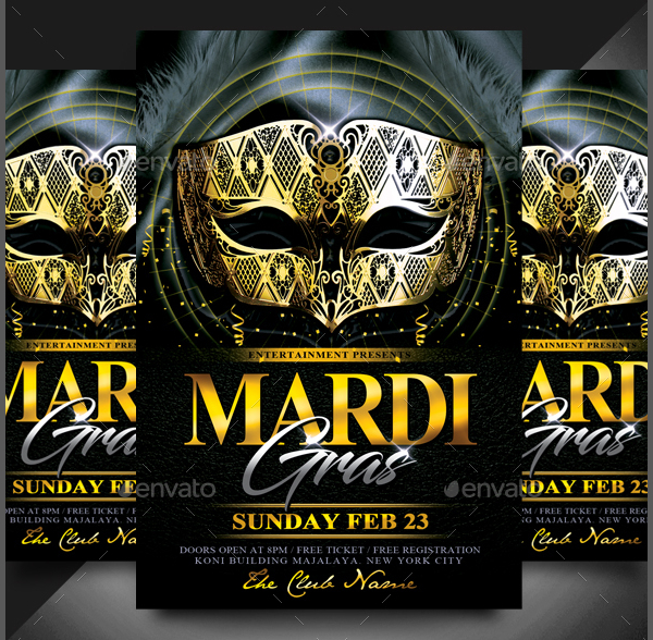 Mardi Gras Event Flyer Template