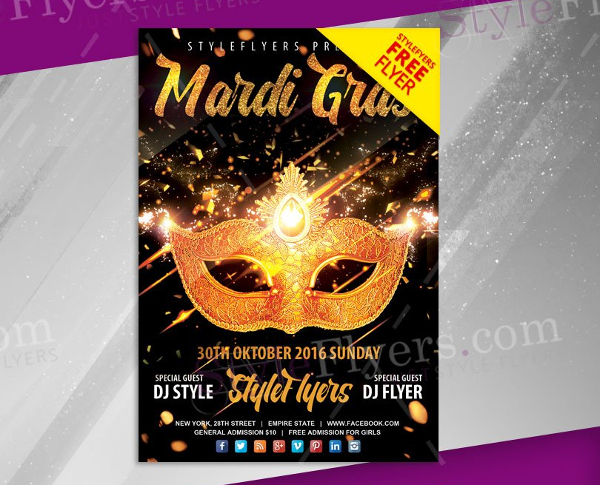 Mardi Gras Free Vector Flyer Template