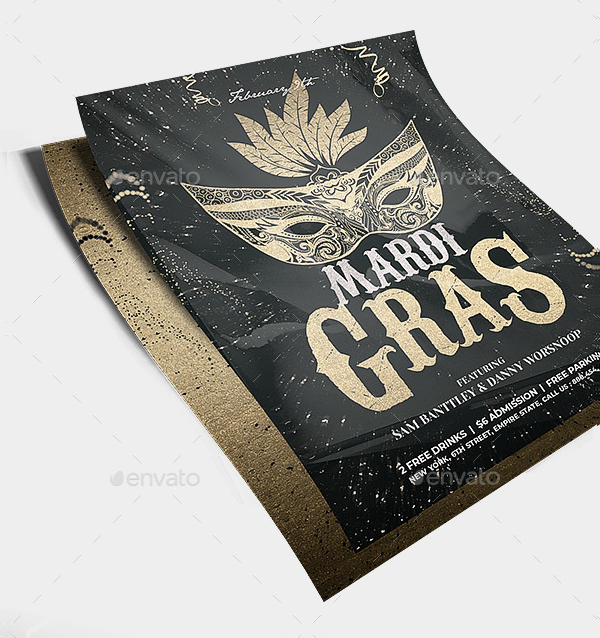 Mardi Gras Mask Flyer Template