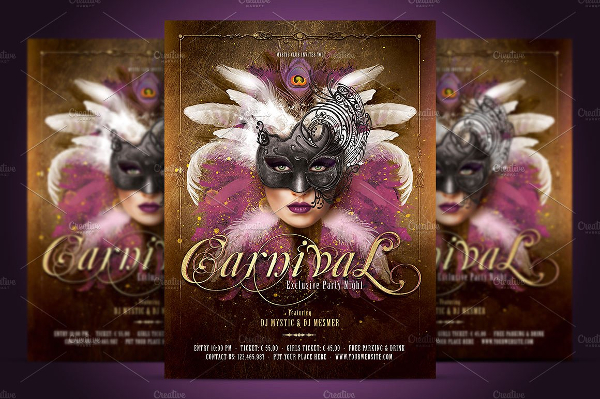 Mardi Gras Mask Party Flyer Template