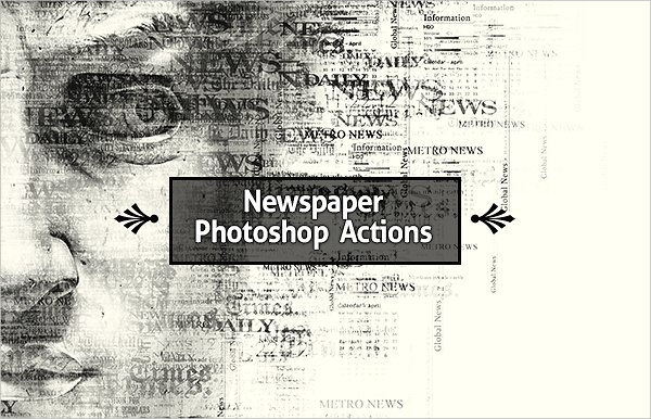 Text Newspaper Photoshop Actions