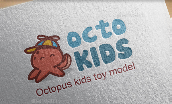 Octopus Kids Logo Template