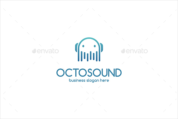 Octopus Sound Clean Vector Business Logo