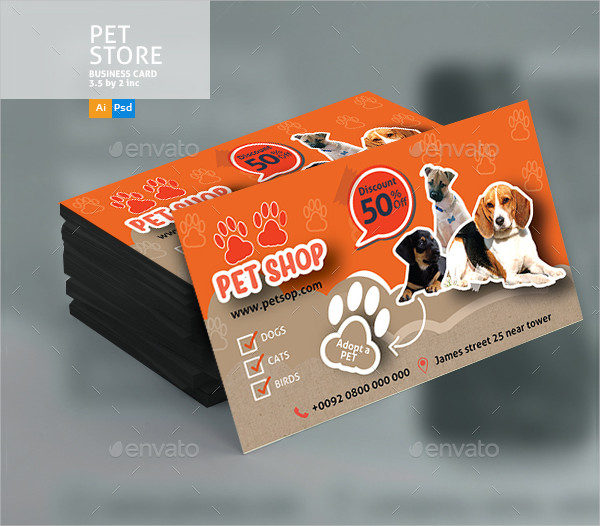 Orange Pet Shop Business Card Template