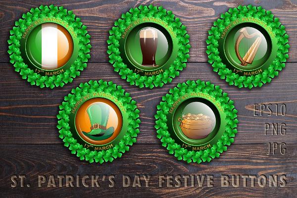 Patrick's Day Festive Glass Design Button