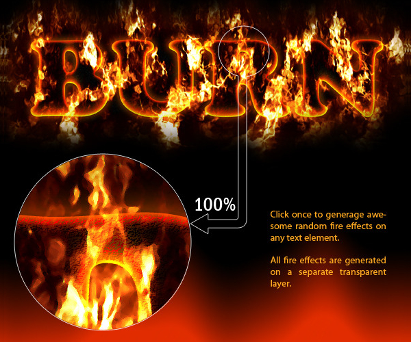 Photoshop Fire Text Actions