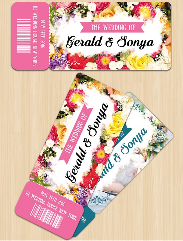 Print Ready Wedding Invitation Ticket Design