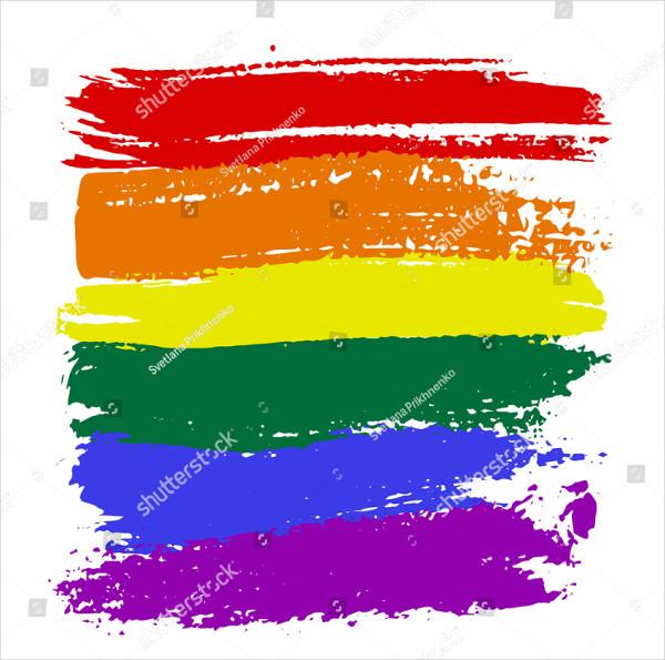 Brush Strokes On Rainbow Design