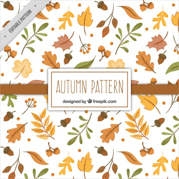 Autumn Pattern With Hand Drawn Dry Leaves Free Vector