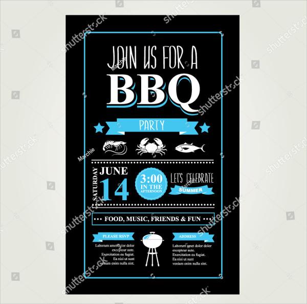 Unique BBQ Invitation And Menu Template