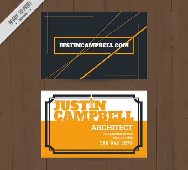 Simple Architect Business Card Free Vector