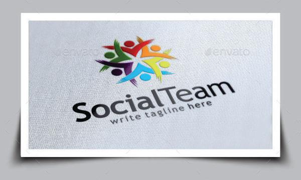 Social Team Work Logo Template