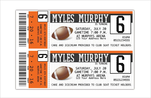 Sports Ticket Invitations Templates