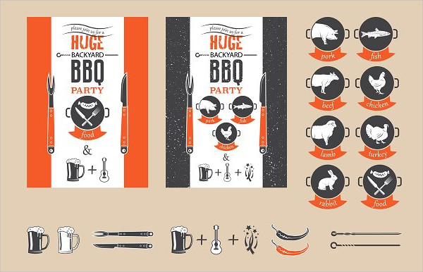 BBQ Elements Set For Invitation Template