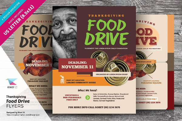 Thanksgiving Food Drive Flyers