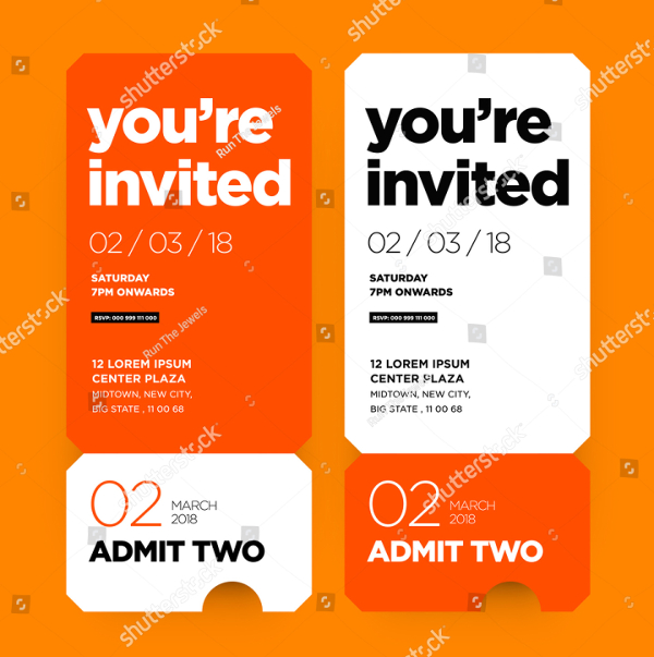 Ticket Style Invitation Templates