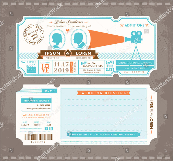 Ticket Wedding Invitation Templates