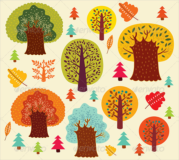 Vector Autumn Pattern With Trees