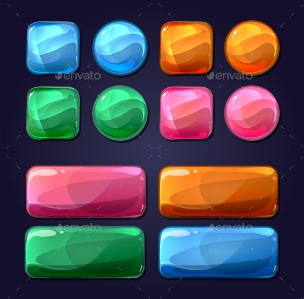 Vector Glass Cartoon Buttons