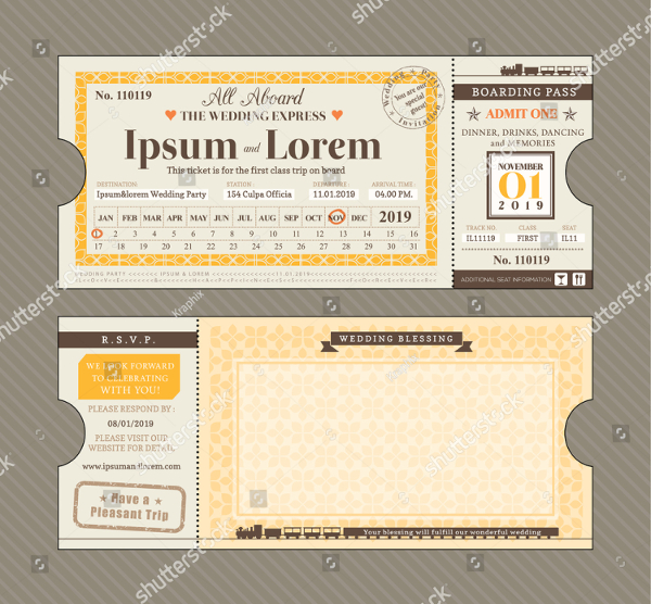 Vector Train Ticket Invitations Design Template
