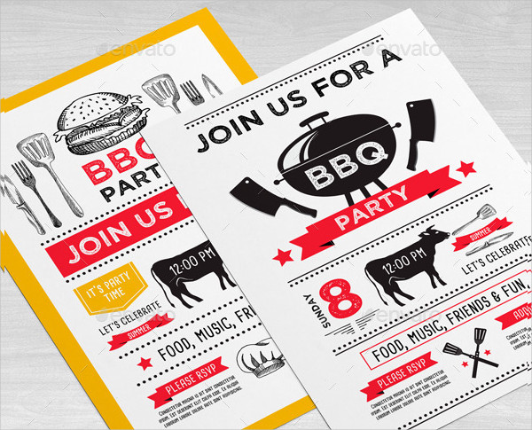 BBQ Vintage Party Invitation Template