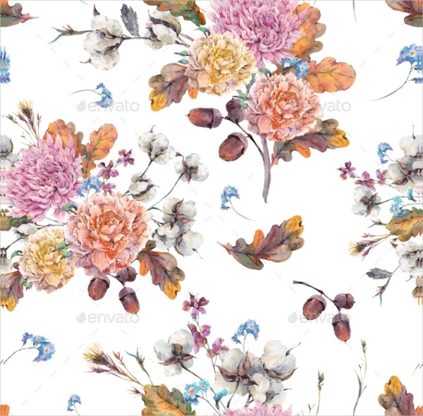 Watercolor Autumn Seamless Pattern